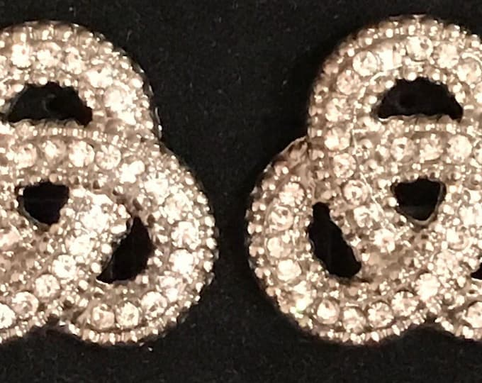 vintage rhinestone pierced earrings