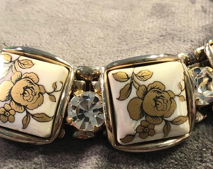 1950's era hand painted porcelain link bracelet