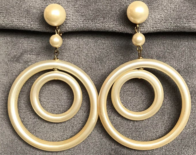 Marvella faux pearl double hoop dangle and drop clips