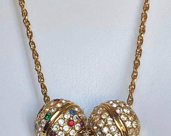 Crown Trifari disco ball pendant chain