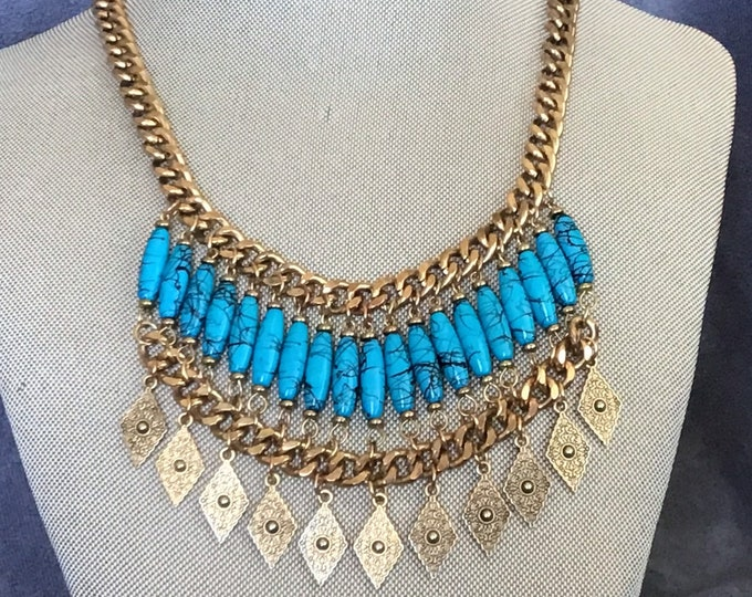 Haskell style 2 tier faux turquoise and gold bib necklace