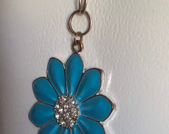 Cornflower Blue enameled daisy with rhinestone center, and silver chain