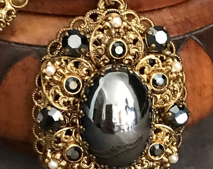 Made in Western Germany, marcasite and gold plated filigree pendent and chain