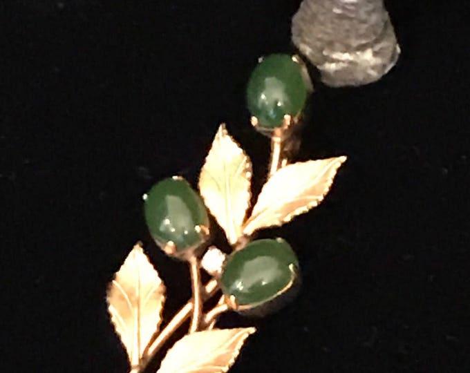 Van Dell, 14 K GF jade floral brooch