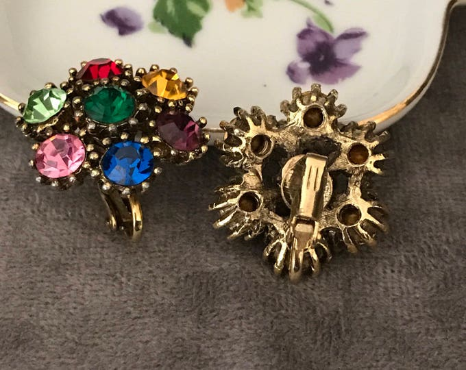 Colorful Vintage  rhinestone clip on earrings