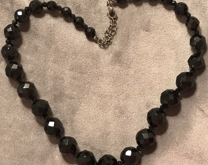 Beaded black crystal necklace
