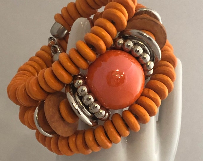 Memory wire orange beaded bracelet