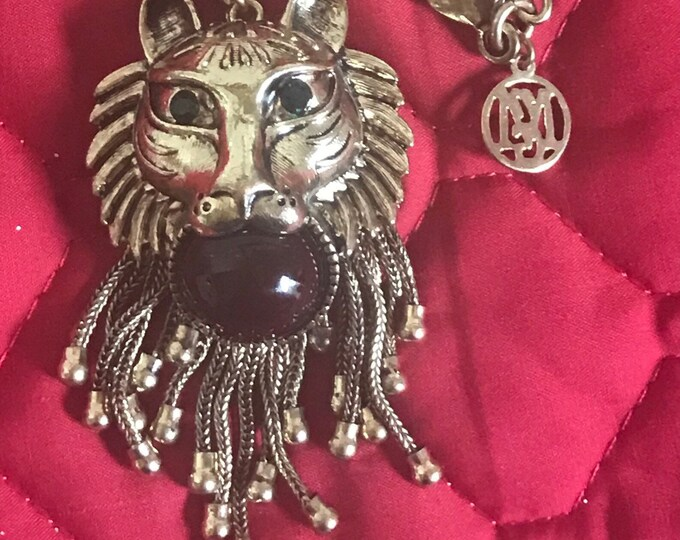 Vintage MNG gold plated tiger pendant and chain