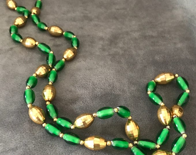 Freirich, signed green and gold Lucite necklace