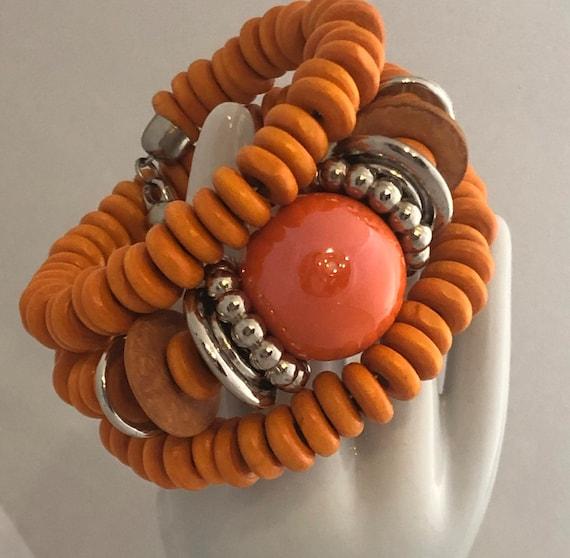 9 12 Large Size 1990s Beaded Orange Bracelet