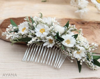 """Hair comb """"Donna"""" dried and preserved flower, dried flower crown, wedding hair comb, white floral hair comb, bohemian wedding hair accessory"""