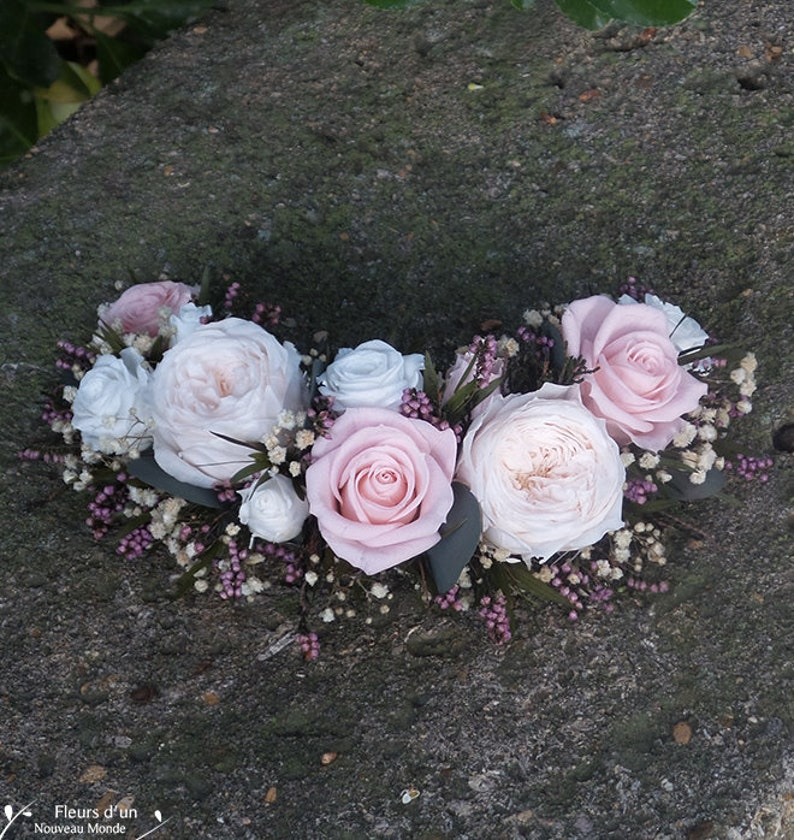 Hair half crown Nelly bridal hair accessory for boho bun bridal headpiece preserved flower crown wedding hair comb