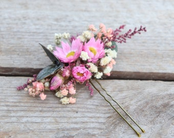 """Hairpin """"Sophie"""" made of dried flowers, original accessory for boho hairstyle"""