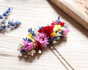 """Hairpin """"Cameron"""", barrette of dried and preserved flowers, flower accessory for country wedding hairstyle"""