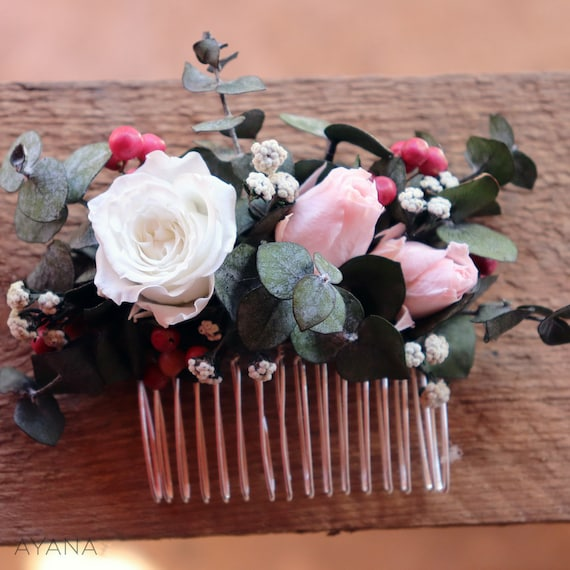 EDIT Romantic pastel wreath with roses and paeony   floral half crown for a boho bride  wedding bridal floral comb bohemian style