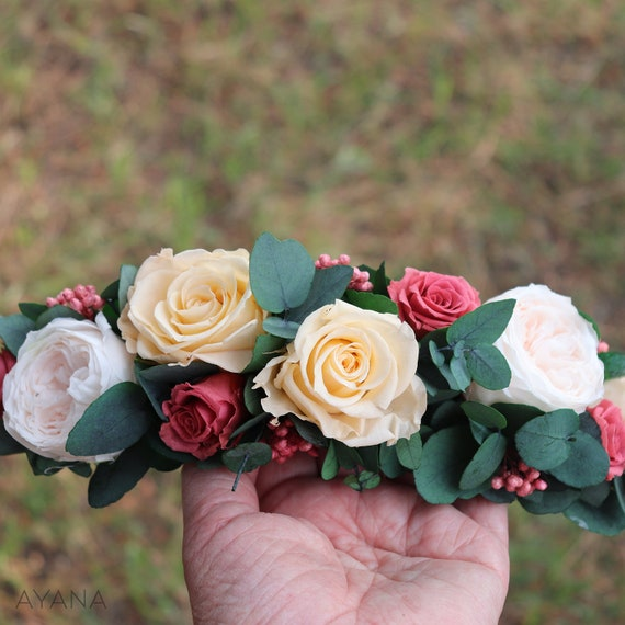 boho floral ornate accessory flower crown Half Crown Belitza with natural stabilized flowers natural accessory for bridal hairstyle