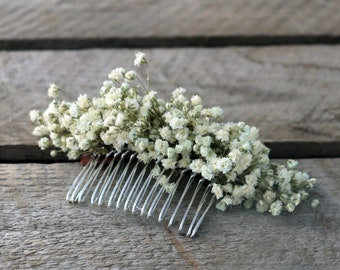 """Flowers comb """"Lucie"""", bohemian hair accessory with durable natural flowers, preserved baby's breath, original hair comb for Boho wedding"""