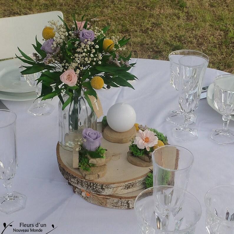 Centre De Table Nature Decoration Florale Romantique Pour Mariage Champetre Deco De Table De Mariage Rondin De Bois Fleurs Preservees