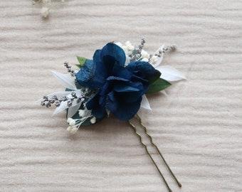 "Hairpin ""Mila"", blue dried flower barrette, blue boho wedding accessory, something blue for bride"