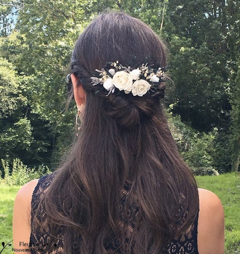 Hair & Head Jewelry Accessoire Coiffure Mariage Quality First Precise Barrette Fleur Grise