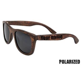 a203ec6ac2d BROWN BAMBOO SUNGLASSES Polarized Wooden Sunglasses Black lenses Beach  Style Bamboo Natural Summer Eyewear Mens Glasses Wood Gift Black lens