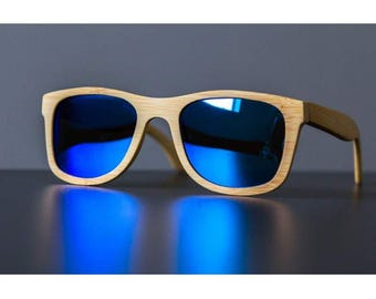 3662769beb BLUE BAMBOO SUNGLASSES Wooden Surfer Style Beach Polarized Lenses Boho  Personalized Gift Personalised Bamboo Style Summer Eyewear Gift Mens