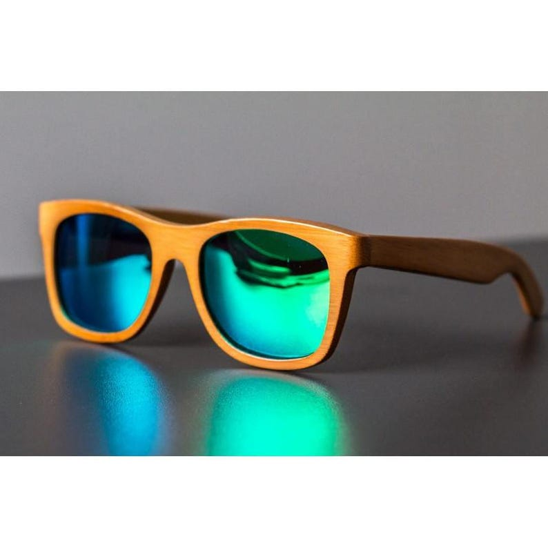 8bd3d83248 GREEN BAMBOO SUNGLASSES Wooden Surfer Style Beach Polarized