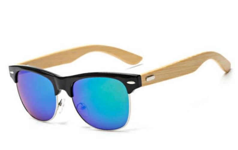 a8a1114dee Lunettes de soleil en bois bleu bambou lunettes de soleil | Etsy