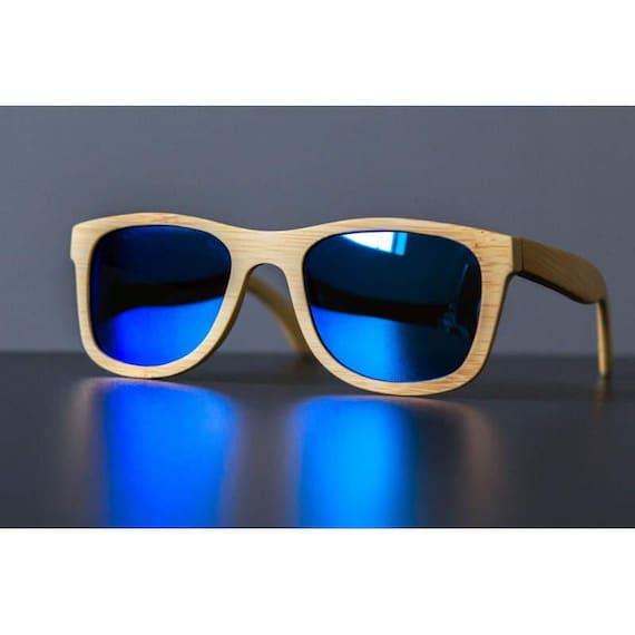 caef94daab Gafas de sol de bambú azul De madera Gafas de sol de madera | Etsy