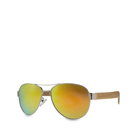 fc05f81ce0e BAMBOO PILOT SUNGLASSES Wooden Style Beach Green Polarized