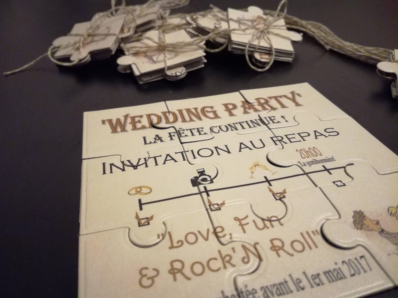 Cardboard Puzzle Wedding Invitation