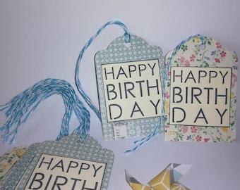(Set of 10) - Happy birthday blue/flower gift tag