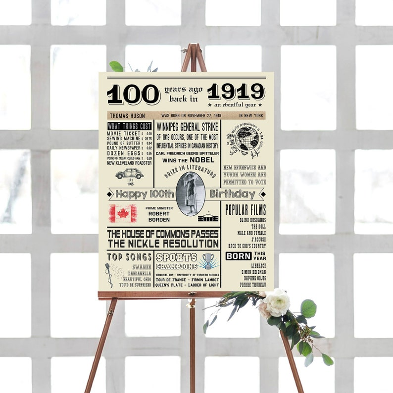 100th Birthday NEWSPAPER Poster - US Fun Facts 1919 - 100th Birthday Poster  with Photo - Personalize 100th Birthday Gift For Grandparents