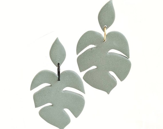 Green Leaf earrings monster leaf earrings large leaf earrings green statement earrings lightweight statement earrings large dangle earrings