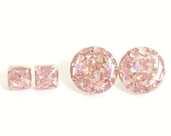 Rose Gold Earrings, Glitter Stud, Pink Glitter Earring, Pink Glitter Stud, Resin Earrings, Glitter Resin, Gift for Her, Statement studs