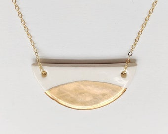 Porcelain necklace porcelain and gold pendant gold dipped necklace nickel free chain women gift half circle necklace bib necklace geometric