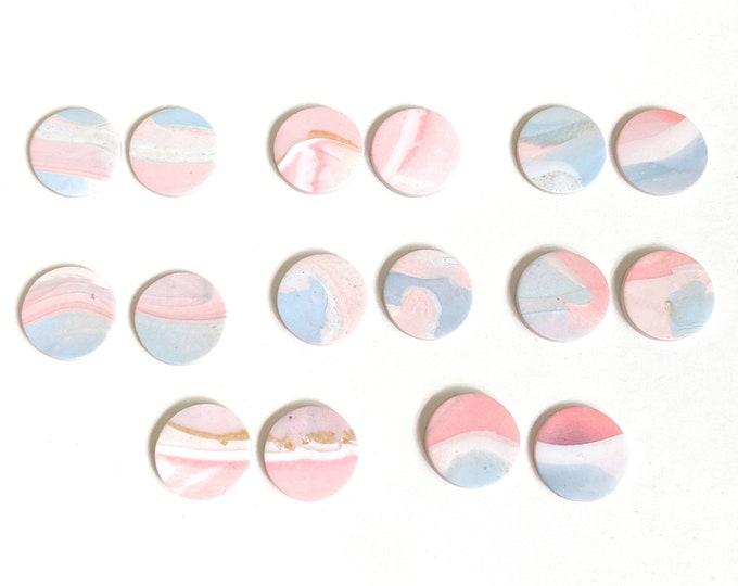 Pastel Earrings, Marble Earrings, Rainbow studs, Jewelry for Her, cute Jewelry, Gift for Women, small batch earrings