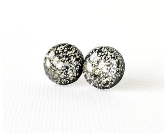 Black and silver stud earrings lightweight earrings resin earrings nickel free earrings black and silver  earrings silver glitter earrings