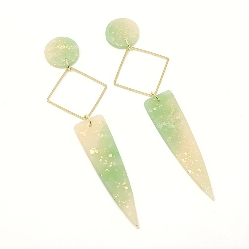 Jade statement earrings green marble earrings lightweight image 0