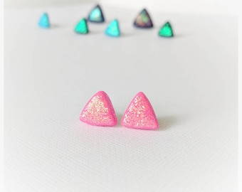 Pink earrings glitter studs polymer clay earrings lightweight earrings iridescent glitter earrings pink studs purple glitter girl gift
