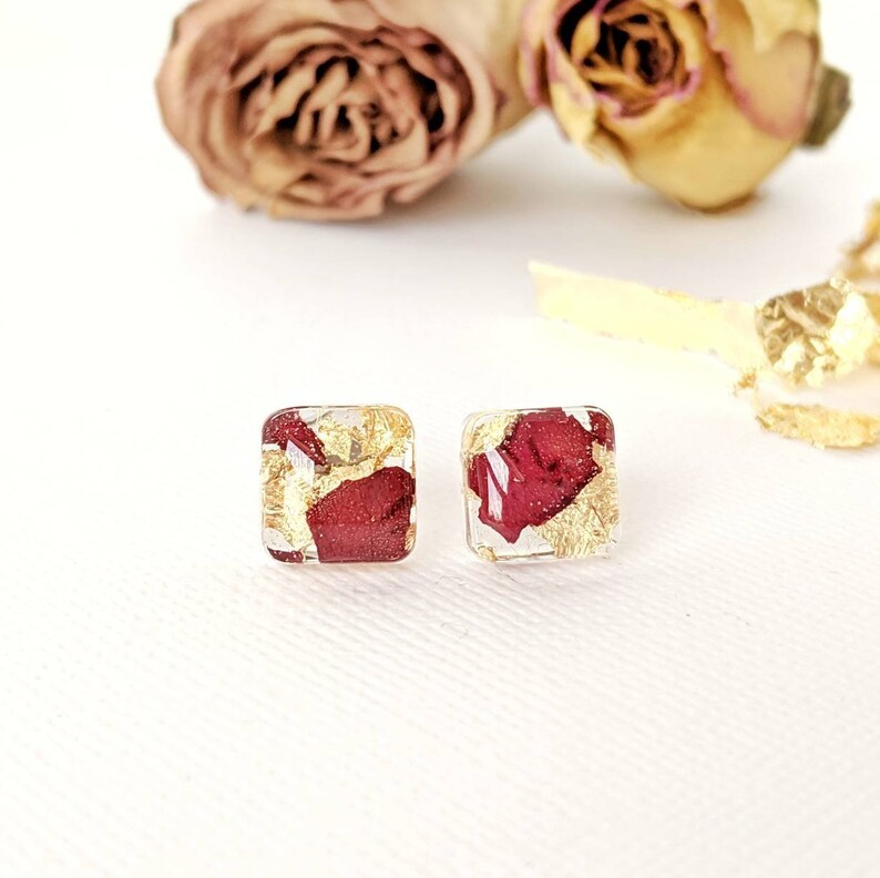 Rose petal earrings rose earrings lightweight resin jewelry image 0