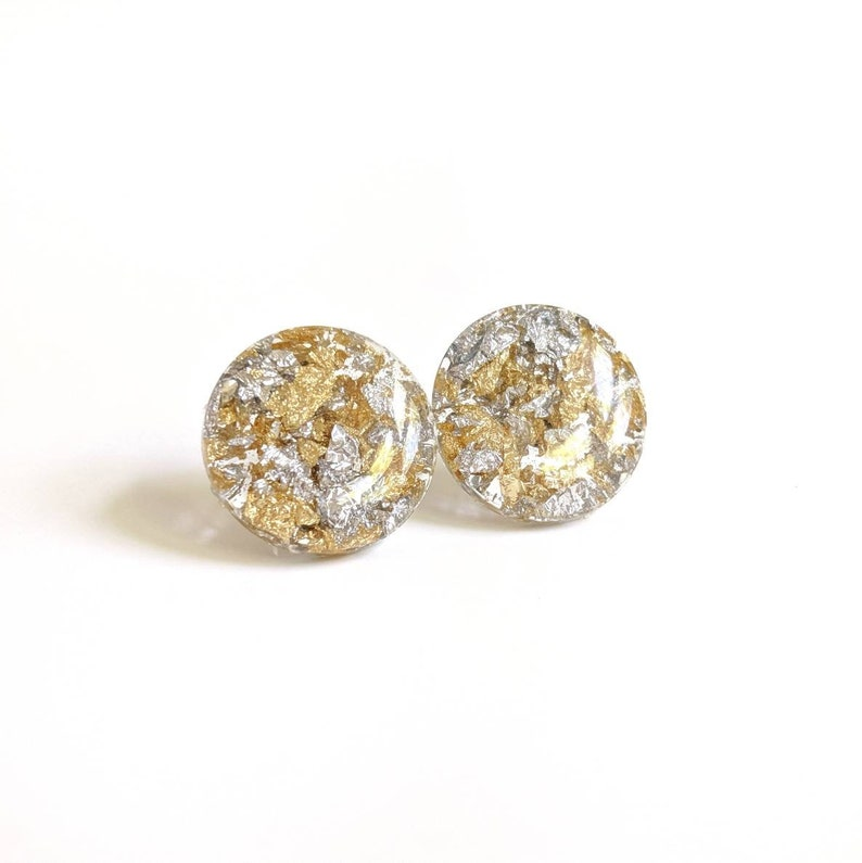 Resin and Gold leaf stud neutral color earrings gold and image 0