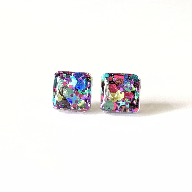 Jewel multicolored Gold glitter studs champagne earrings image 0