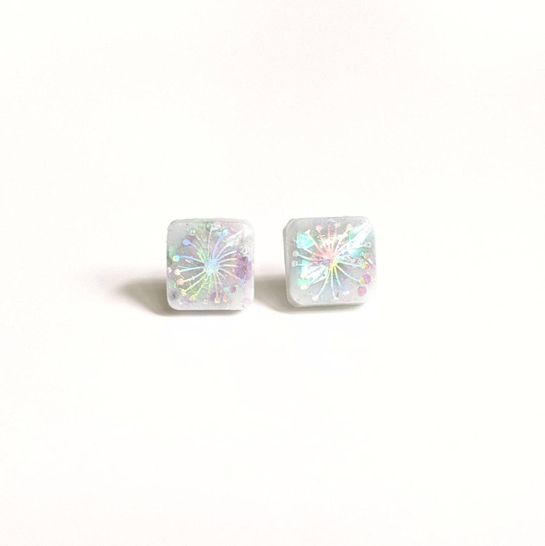 Dandelion earrings leaf jewelry plant lover holographic image image 0