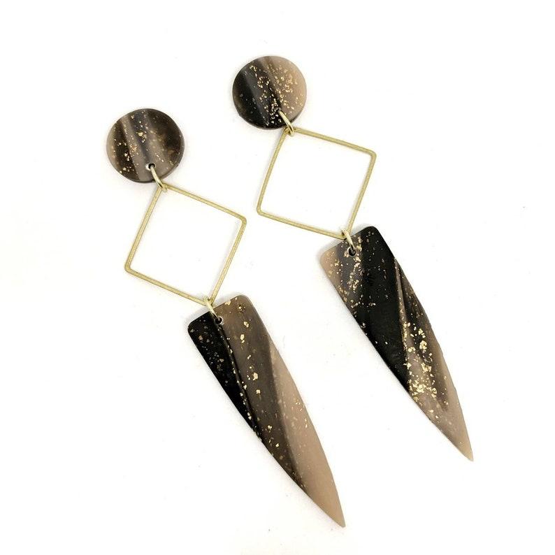 Marble statement earrings neutral marble earrings lightweight image 0
