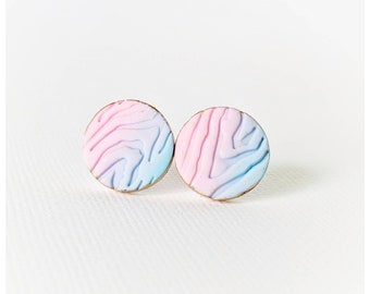 Pink and blue earrings nickel free earrings cotton candy earrings lightweight earrings gift for her college student gift woodgrain earrings