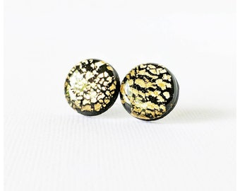 Black and gold stud earrings lightweight earrings resin earrings nickel free earrings black and gold earrings tiger stripe earrings