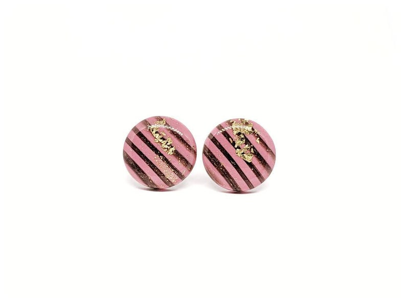 Pink stripe jewelry black and pink earrings pink stripe image 0