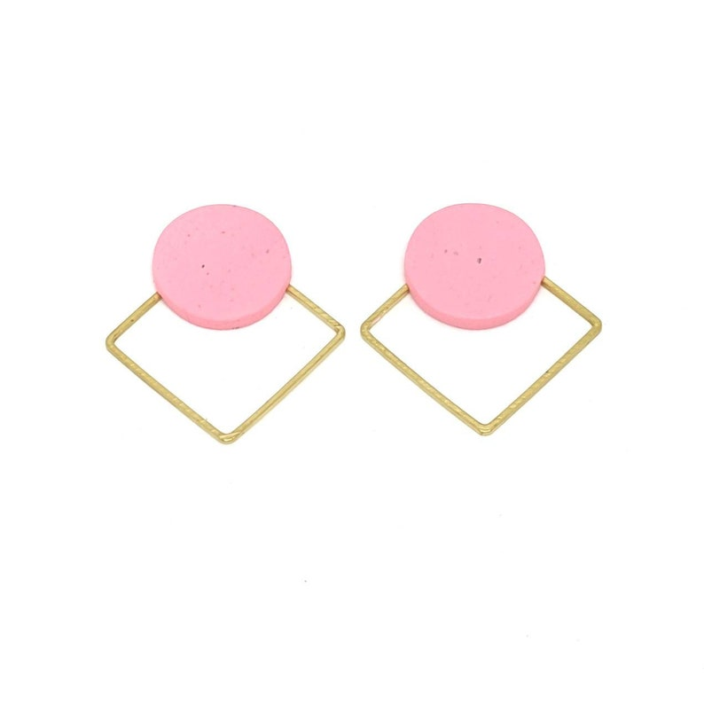 Geometric earrings pink and gold studs geometric earrings image 0