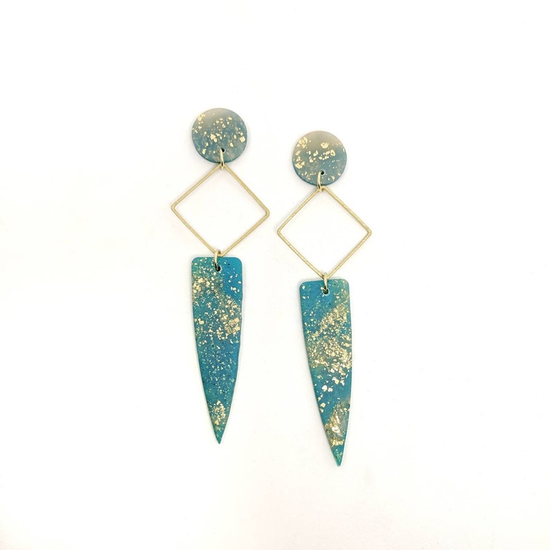Teal statement earrings green marble earrings lightweight image 0